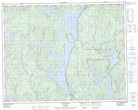 022J13 Lac Fortin Canadian topographic map, 1:50,000 scale