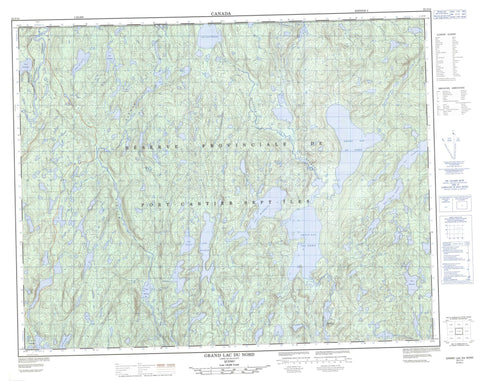 022J14 Grand Lac Du Nord Canadian topographic map, 1:50,000 scale