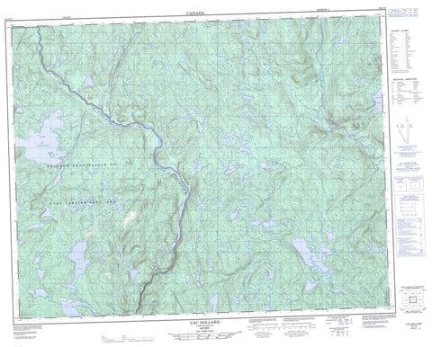 022J15 Lac Dollard Canadian topographic map, 1:50,000 scale