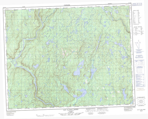022J16 Lac A L Eau Doree Canadian topographic map, 1:50,000 scale