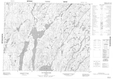 022L16 Lac Manouanis Canadian topographic map, 1:50,000 scale