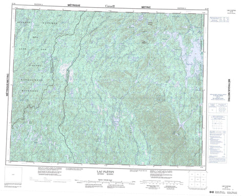 022M Lac Pletipi Canadian topographic map, 1:250,000 scale