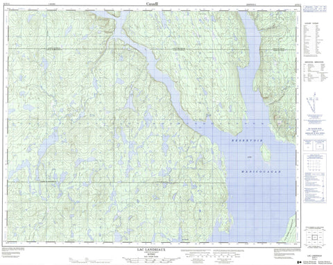 022N11 Lac Landriaux Canadian topographic map, 1:50,000 scale