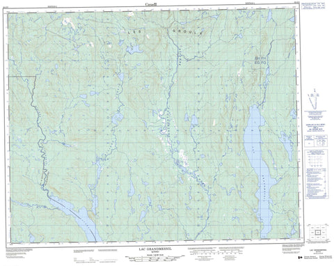 022O05 Lac Grandmesnil Canadian topographic map, 1:50,000 scale