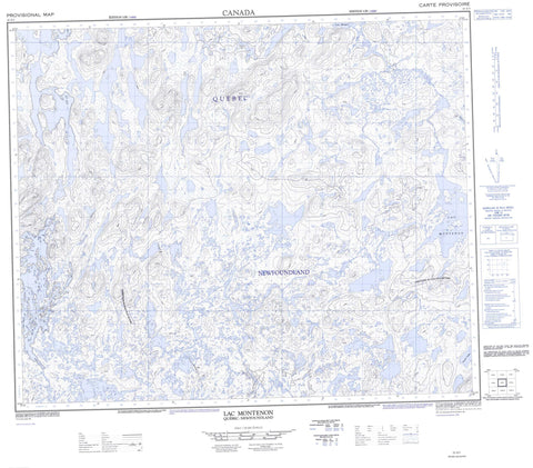 023G03 Lac Montenon Canadian topographic map, 1:50,000 scale
