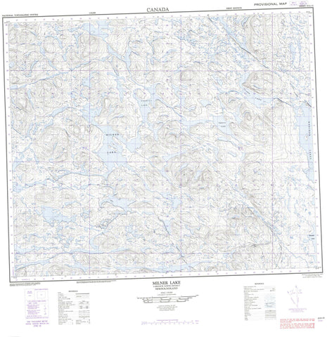 023G15 Milner Lake Canadian topographic map, 1:50,000 scale