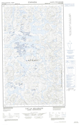 023J04W Lac La Milleraye Canadian topographic map, 1:50,000 scale