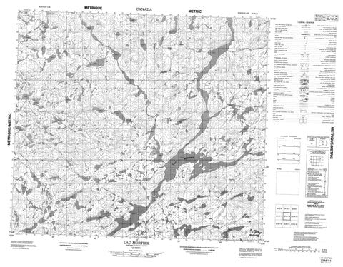 023M14 Lac Mortier Canadian topographic map, 1:50,000 scale