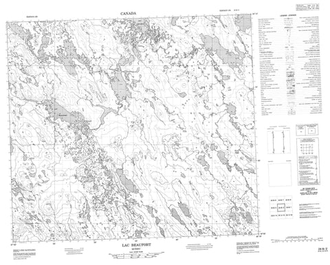 024B02 Lac Beaufort Canadian topographic map, 1:50,000 scale