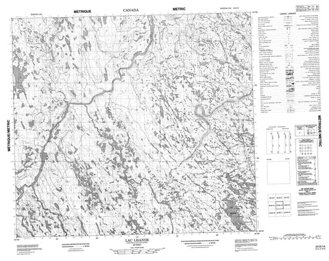 024B14 Lac Lhande Canadian topographic map, 1:50,000 scale