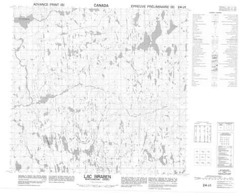 024I01 Lac Biraben Canadian topographic map, 1:50,000 scale