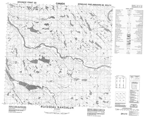 024I11 Ruisseau Naksaluk Canadian topographic map, 1:50,000 scale