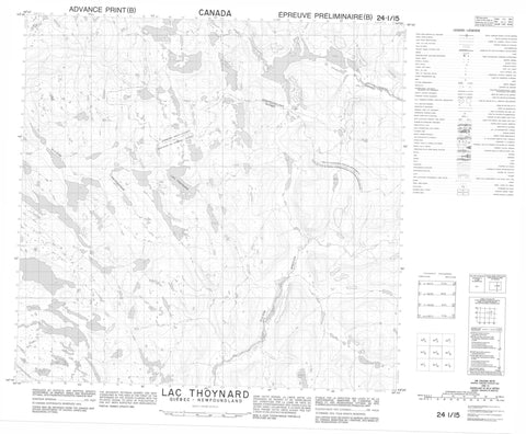024I15 Lac Thoynard Canadian topographic map, 1:50,000 scale