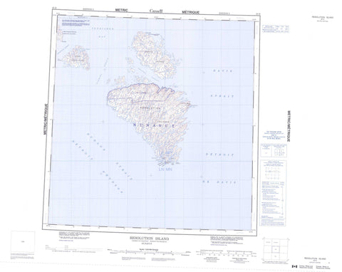025H Resolution Island Canadian topographic map, 1:250,000 scale