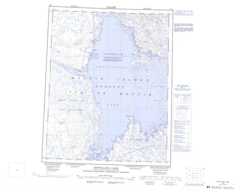 026L Nettilling Lake Canadian topographic map, 1:250,000 scale