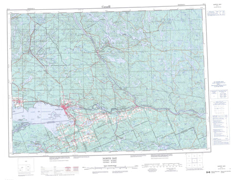 031L North Bay Canadian topographic map, 1:250,000 scale