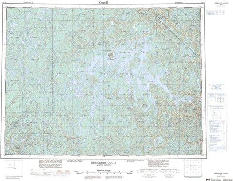 032B Reservoir Gouin Canadian topographic map, 1:250,000 scale