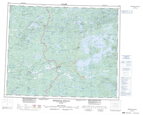 033C Reservoir Opinaca Canadian topographic map, 1:250,000 scale