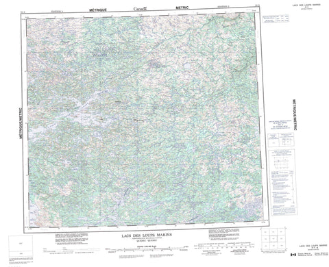 034A Lac Des Loups Marins Canadian topographic map, 1:250,000 scale