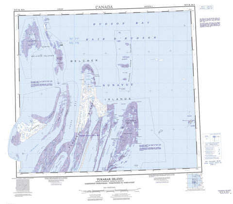 034D Tukarak Island Canadian topographic map, 1:250,000 scale