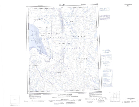 036H Bluegoose River Canadian topographic map, 1:250,000 scale