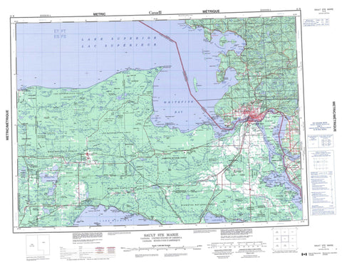 041K Sault Ste Marie Canadian topographic map, 1:250,000 scale