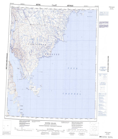 046J Winter Island Canadian topographic map, 1:250,000 scale