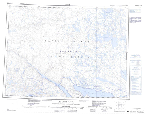 047E Erichsen Lake Canadian topographic map, 1:250,000 scale