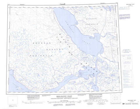 047G Berlinguet Inlet Canadian topographic map, 1:250,000 scale
