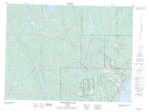 052A15 Greenwich Lake Canadian topographic map, 1:50,000 scale