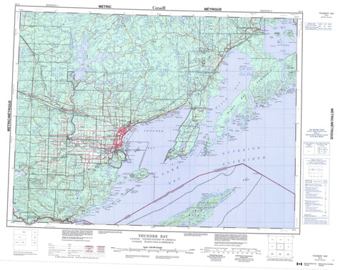 052A Thunder Bay Canadian topographic map, 1:250,000 scale