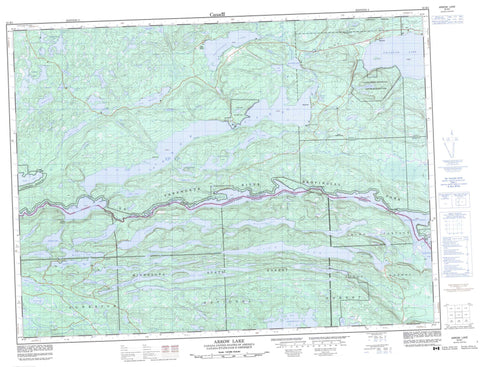 052B01 Arrow Lake Canadian topographic map, 1:50,000 scale