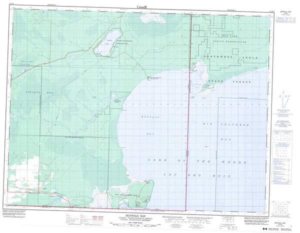 052E03 Buffalo Bay Canadian topographic map, 1:50,000 scale