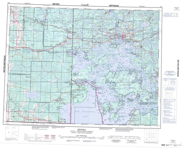052E Kenora Canadian topographic map, 1:250,000 scale
