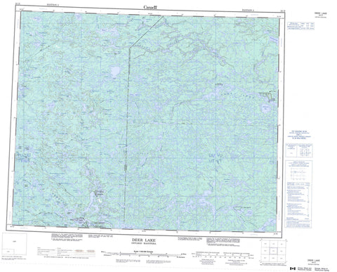 053D Deer Lake Canadian topographic map, 1:250,000 scale