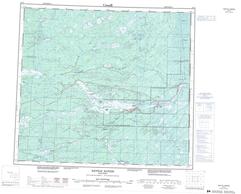 054D Kettle Rapids Canadian topographic map, 1:250,000 scale