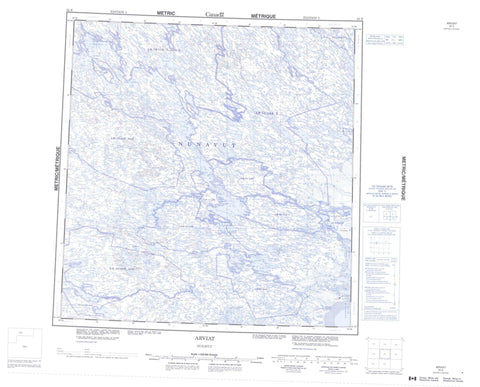 055E Arviat Canadian topographic map, 1:250,000 scale