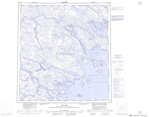 055K Tavani Canadian topographic map, 1:250,000 scale