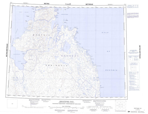 057G Brentford Bay Canadian topographic map, 1:250,000 scale