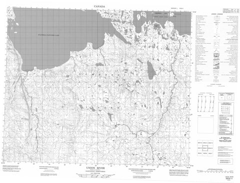 058B11 Union River Canadian topographic map, 1:50,000 scale