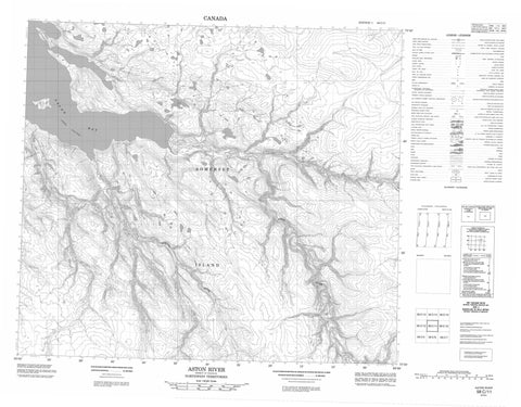 058C11 Aston River Canadian topographic map, 1:50,000 scale