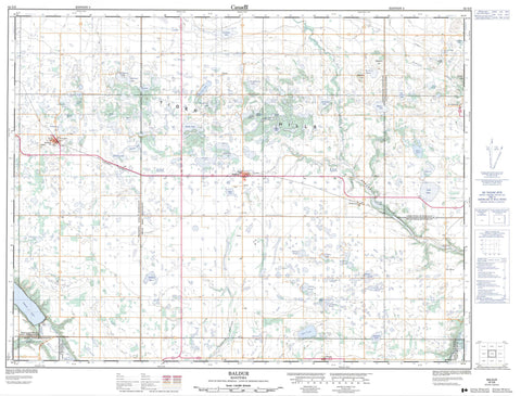 062G06 Baldur Canadian topographic map, 1:50,000 scale