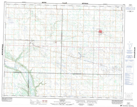 062K02 Hamiota Canadian topographic map, 1:50,000 scale
