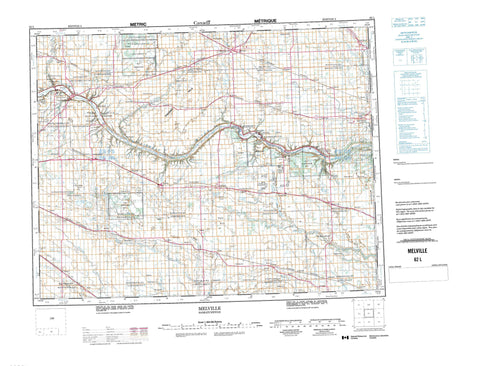 062L Melville Canadian topographic map, 1:250,000 scale