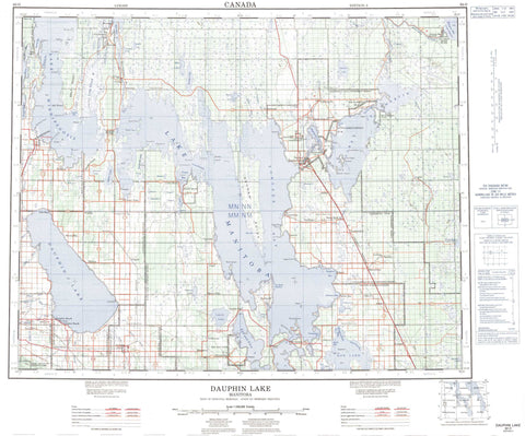 062O Dauphin Lake Canadian topographic map, 1:250,000 scale