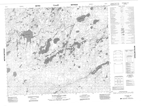 063H15 Washahigan Lake Canadian topographic map, 1:50,000 scale