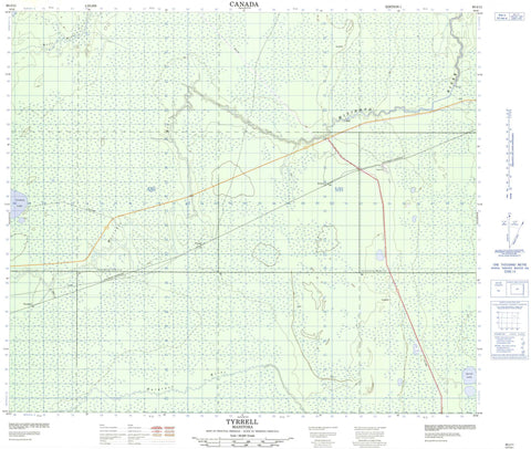 063J11 Tyrrell Canadian topographic map, 1:50,000 scale