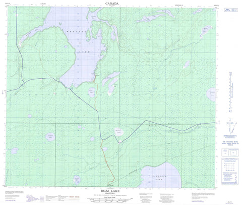 063J12 Buzz Lake Canadian topographic map, 1:50,000 scale