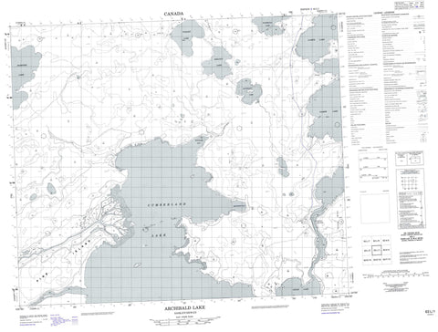 063L01 Archibald Lake Canadian topographic map, 1:50,000 scale