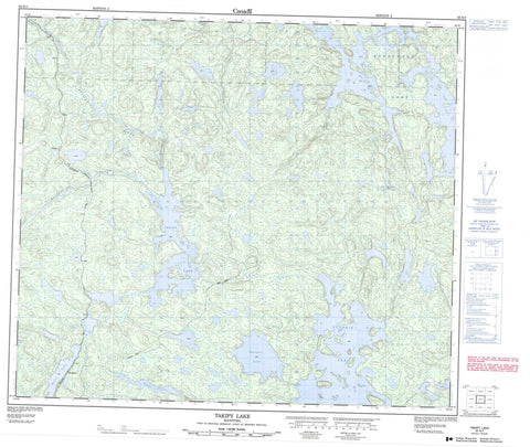 063N07 Takipy Lake Canadian topographic map, 1:50,000 scale